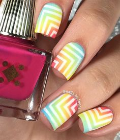 I adore this mani by @nailsbyteens using the small single chevrons inside of our Right Angle Nail Stencils  Find them at: snailvinyls.com