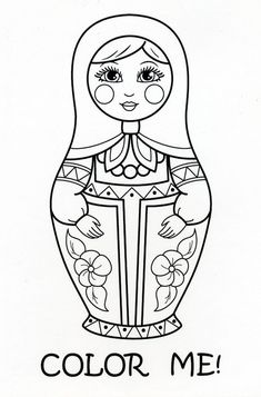 Matryoshka Doll Coloring Postcard from Diana in Saransk, Russia