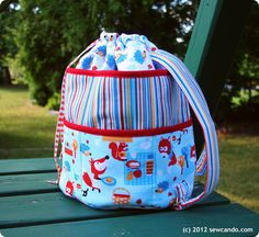 Get the free pattern for this Plenty of Pockets Duffel Bag from Sew Can Do. It's the ideal take-along for all your summer outings.