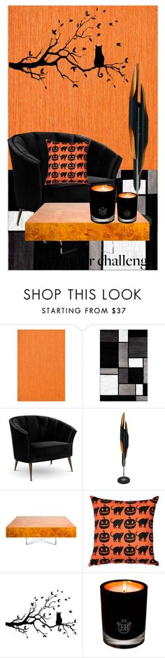 """""""black & orange"""" by aries-indonesia ❤ liked on Polyvore featuring interior, interiors, interior design, home, home decor, interior decorating, Casamance, Alpine, Arca and Jonathan Adler"""