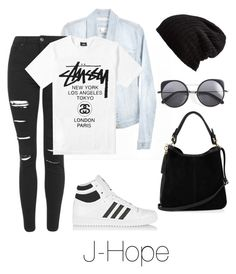 """Airport Fashion: J-Hope"" by btsoutfits ❤ liked on Polyvore featuring Topshop, Stussy, Free People, adidas Originals, Wood Wood and Oasis"