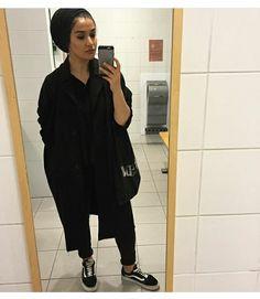 IG: houda.j #hijab #hijab fashion #hijab style #muslimah #black #total black #vans