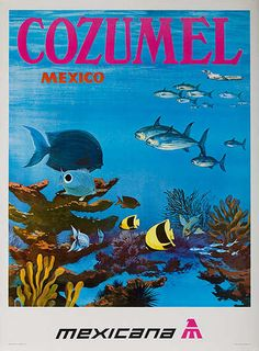 Cozumel Mexico Original Mexicana Airlines Travel Poster, ca Cozumel Mexico, Mexico Vacation, Mexico Travel, Vacation Spots, Vintage Advertising Posters, Vintage Travel Posters, Vintage Advertisements, Vintage Airline, Travel Ads