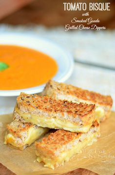 Tomato Bisque with Smoked Gouda Grilled Cheese Dippers from willcookforsmiles.com #soup