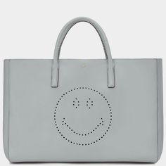 Smiley Maxi Featherweight Ebury Fall Winter, Autumn, Anya Hindmarch, Smiley, Light Blue, Essentials, Leather, How To Wear, Bags