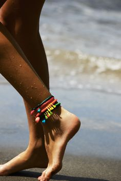 Bright anklet stack.
