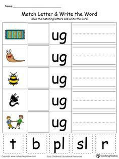 **FREE** UG Word Family Match Letter and Write the Word in Color Worksheet. Topics: Writing, Phonics, Reading, Building Words, and Word Families.