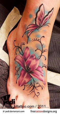 This is my tattoo !!!!!! Lilly and butterfly is different but this is it | http://awesometattoophotos.blogspot.com
