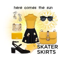 here comes the sun by kc-spangler on Polyvore featuring Dsquared2, Rebecca Minkoff, Valentino, Lanvin, Kate Spade, Henri Bendel, Le Specs, yellow, sun and skirts