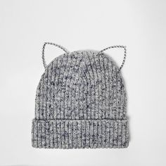 River Island Grey kitten ears beanie (75 RON) ❤ liked on Polyvore featuring accessories, hats, river island, gray beanie hat, gray beanie, beanie cap and grey hat