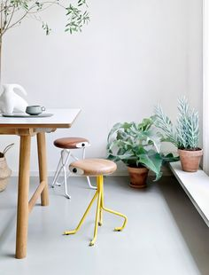 #Interior #inspirations #chairs #stools #yellow #wood #plants