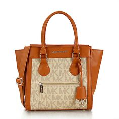 Michael Kors Selma Zipper Small Brown Apricot Satchels only $71.99