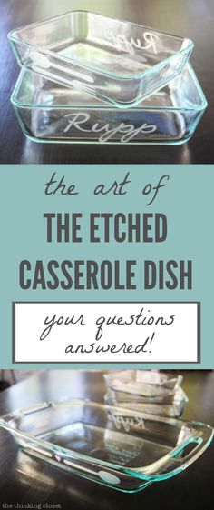 The Art of the Etched Casserole Dish: Your Questions Answered!  |  Here's a comprehensive list of the most frequently asked questions I receive on how to use your Silhouette and glass etching cream to create a personalized DIY gift.  Prepare to learn everything you ever wanted to know AND MORE on the subject! Diy Glass Etching, Etched Glass Vinyl, Glass Etching Stencils, Diy Etched Glassware, Glass Etching Designs, Etching Tool, Cricut Vs Silhouette, Silhouette Machine, Silhouette Design