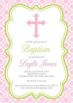 Printable Cross Baptism Invitation, Quatrefoil Baptism Invite, Quatrefoil Cross…