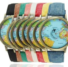 Plane World Map Pattern Travel Watches Denim Quartz Watch Cusual Dress Watch 50 - Shopping Guide Map Watch, World Map Design, Couple Watch, Map Globe, Bronze, Fashion Watches, Women's Watches, Fashion Men, Shopping