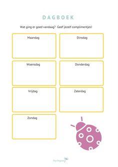 Werkblad voor onzekere kinderen om meer zelfvertrouwen te krijgen. Dit werkblad is een onderdeel van het werkboek voor kinderen: Ik ben TOP! Het staat boordevol leuke opdrachten en oefeningen om het zelfvertrouwen van je kind te vergroten.   Maar dit werkblad is ook los te gebruiken als een positief dagboek voor kinderen.  #zelfvertrouwen #positief zelfbeeld #oefeningen voor meer zelfvertrouwen Coaching, Conscious Discipline, Leader In Me, Mind Up, School Items, Yoga For Kids, Positive Mindset, Teaching Tips, Social Work