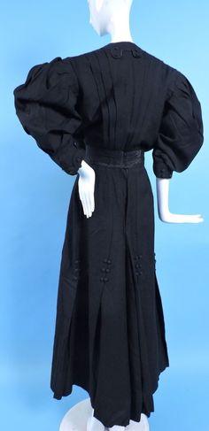 Edwardian 2 PC Black Wool Walking Suit w Mega Sleeve Jacket. Back