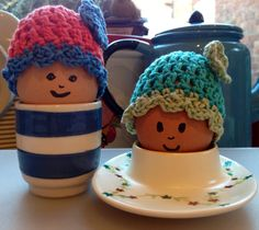 Easter bonnet crocheted egg cosies
