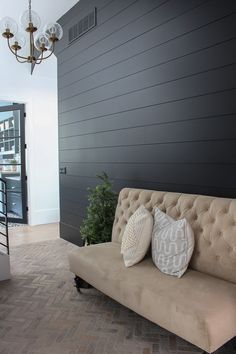 Our Black Mudroom with Brick Herringbone Floors - The House of Silver Lining modern black shiplap wall Silver Living Room, Accent Walls In Living Room, Accent Wall Bedroom, Ship Lap Accent Wall, Living Rooms, Black Accent Walls, Black Walls, Black Brick, Black Painted Walls