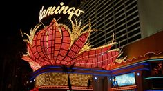 The sign at the entrance of the Flamingo hotel and casino is reminiscent of the Art Deco and Streamline Modern style of Miami and South Beach.
