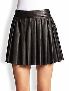 Alice + Olivia Pleated Leather Skirt