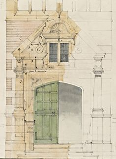 Front Entrance for Greenham Lodge, Greenham, Berkshire (detail), drawn by WR Lethaby, 1879. Photograph: Prudence Cuming /Royal Academy of A...