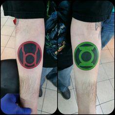 Green lantern and red lantern tattoos