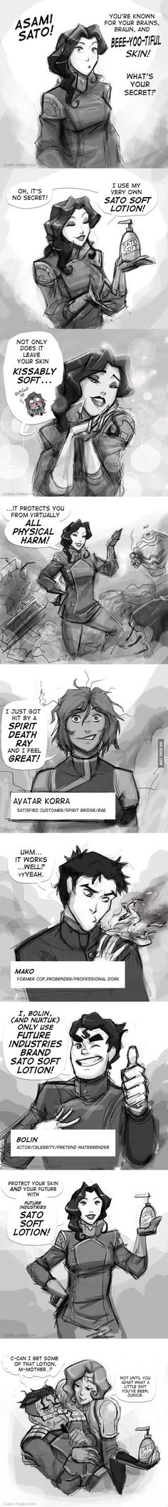 """""""I just got hit by a spirit death ray and I feel great!"""" - Avatar Korra... """"not till you admit what a little shit you've been junior."""" Sato soft lotion"""