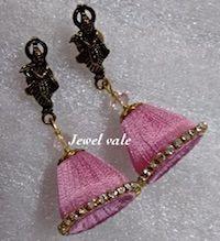 Jewellery | Silk Thread | Baby Pink Cone Jhumka | CardsNCrafts