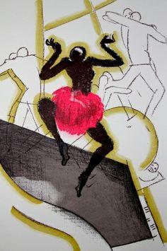 * LE TUMULTE NOIR Illustrations Paul Colin (1892-1985), En 1929, Paul Colin réalisa cet album en hommage à la « folie noire » qui s'était emparée de Paris avec l'apparition du jazz, et surtout l'arrivée de Josephine Baker et de sa troupe : la Revue Nègre enflamma en effet le Théâtre des Champs-Élysées en 1925 par sa nouvelle danse débridée, le charleston, que Josephine Baker dansait juchée sur un tambour géant.