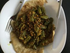 Vegan  Roti with lentils and okra