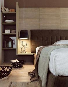 tête de lit avec rangement et table de nuit suspendue en bois