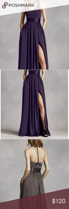 Selling this Vera Wang Amethyst V neck halter gown w/sash on Poshmark! My username is: leneestyle. #shopmycloset #poshmark #fashion #shopping #style #forsale #Vera Wang #Dresses & Skirts