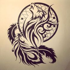 Tribal Wolf on Pinterest | Howling wolf tattoo Tribal wolf tattoos ...