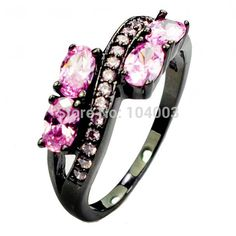 Pink Sapphire  Black Gold Filled Ring Lady's 10KT Finger Rings For Women 2014 Fashion Jewelry Size 6/7/8/9/10 HOT Sale E2432 436-in Rings from Jewelry on Aliexpress.com | Alibaba Group