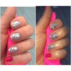 Jamberry Shattered Glass & Haute Pink.  Too DIE for mani. Look how it sparkles in light!  melissaclarkjamberry.jamberry.com.  #shatteredglassjn #hautepinkjn
