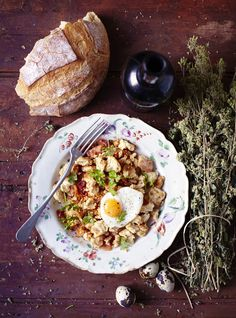 Migas with Fried Quail Eggs via appledrane Tapas Recipes, Egg Recipes, Healthy Recipes, Healthy Breakfasts, Recipies, Dinner Recipes, Breakfast Time, Breakfast Recipes, Breakfast Ideas
