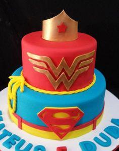 Superman & Wonder Woman Gender Reveal Cake. How adorable