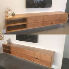 Messmate timber floating TV unit