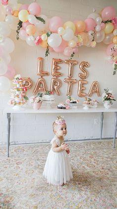 Cute idea for a girls tea party theme birthday party 1st Birthday Party For Girls, Girls Tea Party, Princess Tea Party, Tea Party Theme, Girl Birthday Themes, Tea Party Birthday, Tea Party Hats, Colorful Birthday, Girl Themes