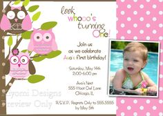 Pink Plaid or Polka Dot Whimsical Owl Themed Look Whoo's Turning...Birthday Custom Photo Invitation -Digital Printable File
