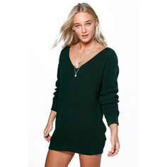 Boohoo Bella V Neck Jumper Mini Dress ($30) ❤ liked on Polyvore featuring dresses, bottle green, tops, short dresses, holiday cocktail dresses, green mini dress, cocktail dresses and green bodycon dress