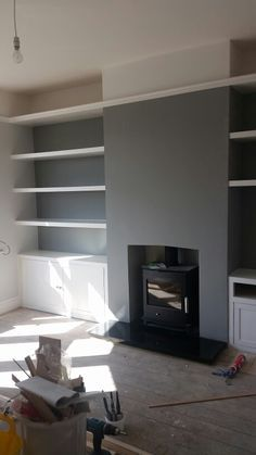 Idea for living room - Inbuilt white wooden shelves and cupboards Farrow and ball paint blackened and manor house grey Living Room Grey, Home Living Room, Living Room Designs, Living Room Decor, 1930s House Interior Living Rooms, Log Burner Living Room, Farrow And Ball Living Room, Dining Room, Fireplace Shelves