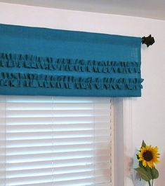 TWO IN ONE Turquoise Burlap Valance with Two Ruffles on Etsy, $52.00