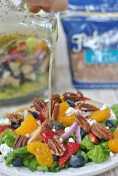 Strawberry Pecan Salad with a sweet, homemade Lemon Poppyseed dressing and candied Pecans #thinkfisher