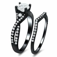 Cowgirl Wedding Ring Sets | 25ct Round Diamond Engagement Ring Wedding Set 18k Black Gold With A ...