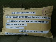 Cushion made from vintage tea towel from the Silver jubilee £42