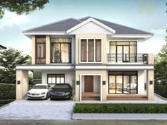 Modern Bungalow House Design With Three Bedrooms - Ulric Home Two Story House Design, Two Story House Plans, Village House Design, Simple House Design, Modern House Design, Modern Bungalow House Plans, Small House Floor Plans, Bungalow House Design, Bungalow Designs