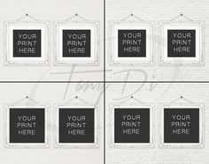 10x10 Set of 2 White Ornate Square Matted & by TanyDiDesignStudio