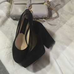 BOUTIQUE 9 black suede shoes Size 71/2 black suede color worn good condition I am a size 8 these just fits me! So I think it's more a size 8 heel 4 1/2 inches 1/2' platform Boutique 9 Shoes Mules & Clogs